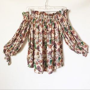 NWT Beach Riot Floral Off the Shoulder Ruffle Top